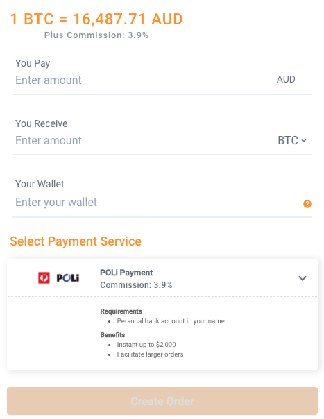 FIFO Bitcoin Buy Widget